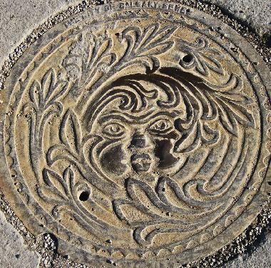 Floral face manhole cover - Calgary