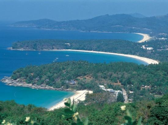 Patong, Kata and Karon Beaches seen from a southern Hill on the Island of Phuket Thailand