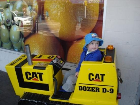 Rhys on the Cat Dozer in New Norfolk