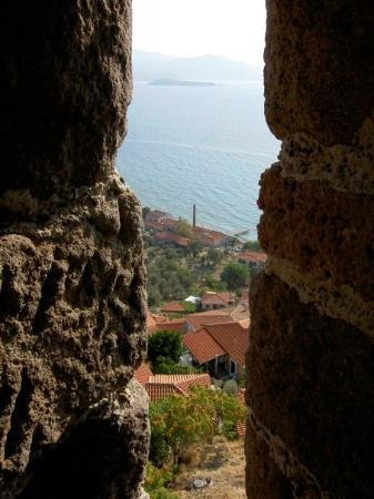 Mytilene, กรีซ: View of Molivos (olive press) from the castle.