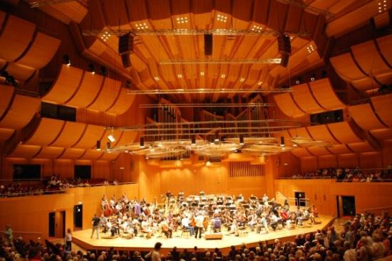 Cultural Center (Kulturzentrum Gasteig): The interior of the Gasteig building, including the Munich Symphony Orchestra. We got tickets to