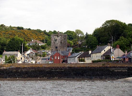 Waterford, Irlanda: Ballyhack and its castle from the ferry from Passage East