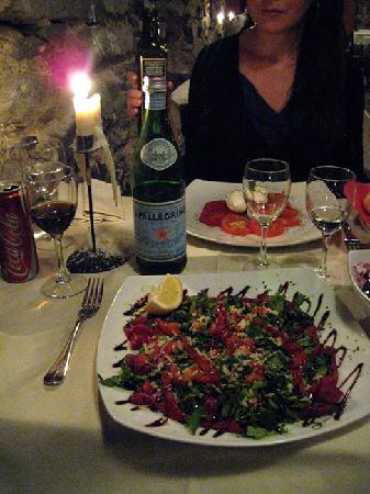Albergo Centrale Restaurant : Carpaccio and tomato salad.