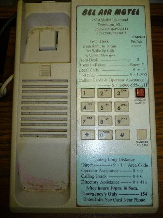 Bel Air Motel: This is what our phone looked like when we picked it up.  We only used the phone once on the sec
