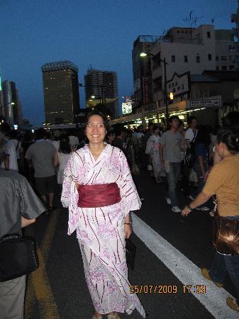 Taito Ryokan : Bought Yukata 3-4 doors away from ryokan for 3000yen (so cheap!!!), in time for fireworks festiv