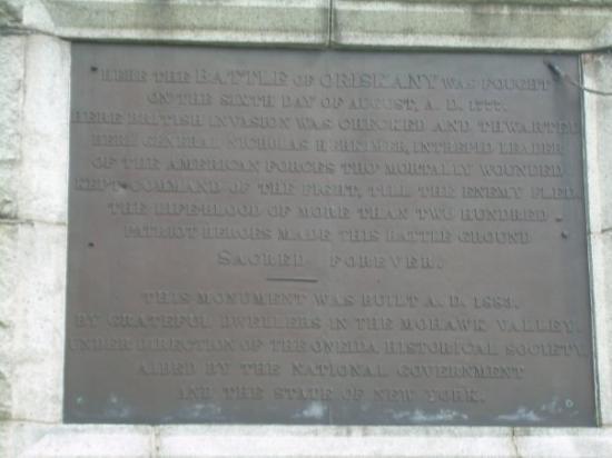 Oriskany, Estado de Nueva York: The scripture on the monument.