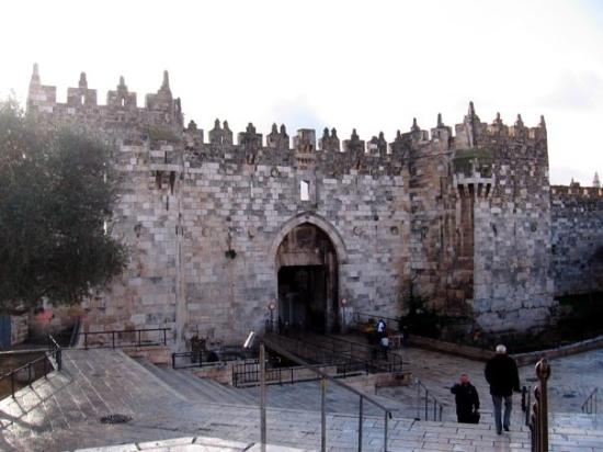 Old City of Jerusalem: Damascus Gate!  This is the wider view of the backdrop of my current profile picture.