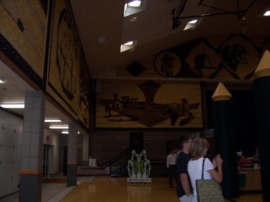 Corn Palace: The entire building is made out of different pieces of corn including the pictures shown here.