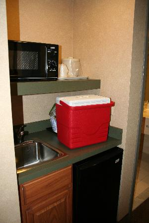 Holiday Inn Express Bethany Beach: refrigerator and microwave in every room, nice to have a sink area too.