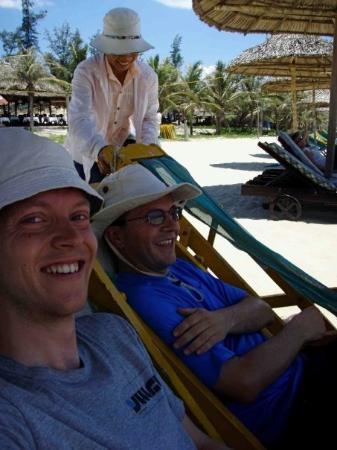 มุยเน่, เวียดนาม: Stace has just hot-footed across burning hot sand and plunged, posterior first, straight throug