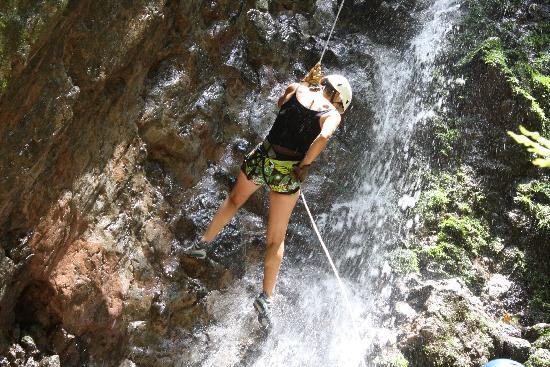 Desafio Adventure Company: Rappelling down the 250 foot waterfall!