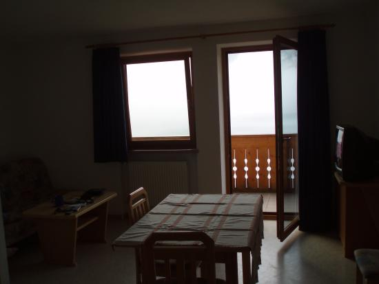 Garni Froy: looking fron apartment towards balcony