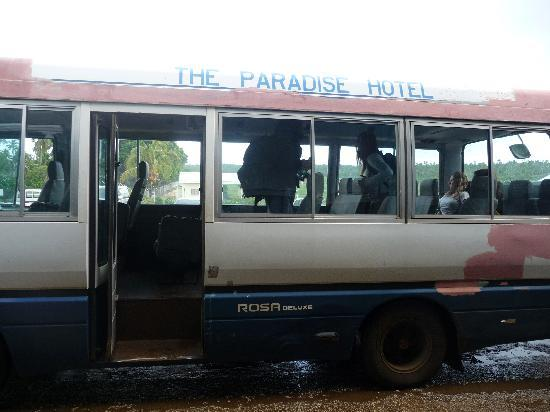 The Paradise International Hotel : Paradise Hotel airport transfer bus.