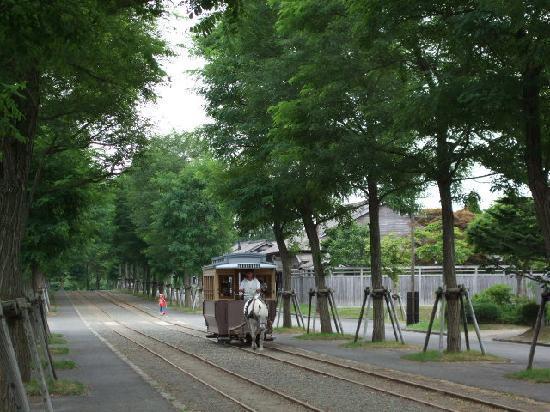 Historical Village of Hokkaido (Kaitaku-no Mura): 馬車が走っている。