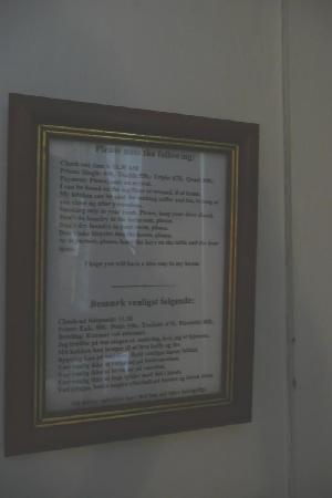 Morten Fredricksen Guesthouse: List of Rules