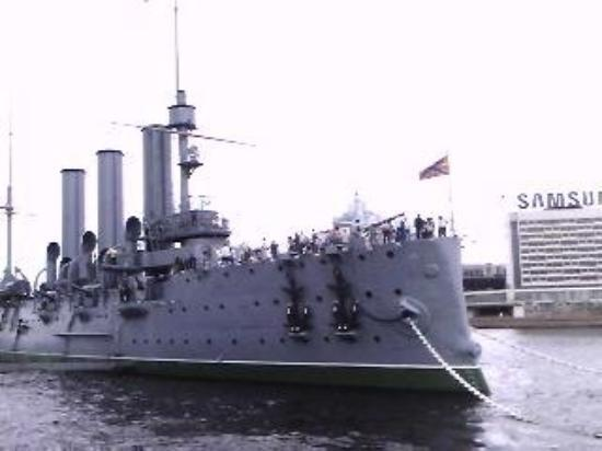 Russian cruiser Aurora (Avróra), the ship which initiated the October Revolution