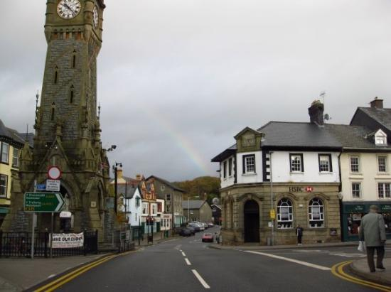 Machynlleth, Wales Town Square:  The 1st of 3 rainbows in one day!