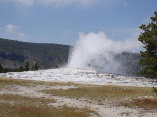 Old Faithful. It erupted soon after we got there.