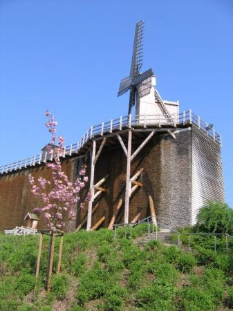 Bad Rothenfelde, Deutschland: This is the larger wall with a windmill at the end used to pump water in the old days.