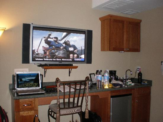 The Orenco: Laptop, TV and refrig area