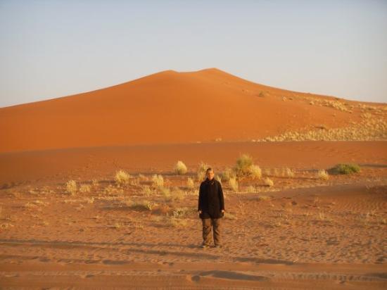 Sossusvlei, นามิเบีย: Vor den roten Dünen Sossousvleis (Dune 45)