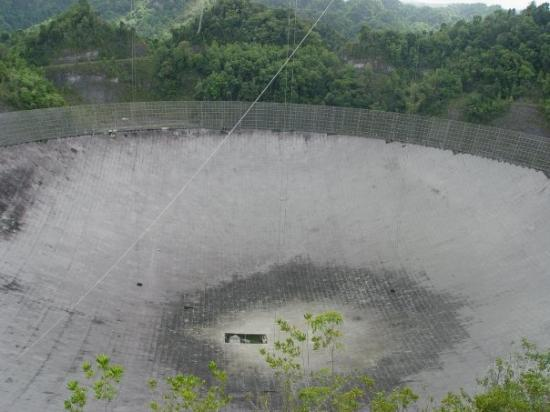 The largest fixed-dish radio telescope in Arecibo used for the Search for Extra-Terrestrial Inte