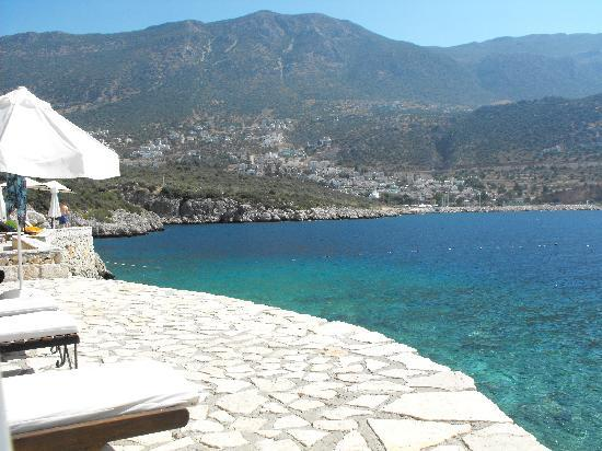 Likya Residence and Spa: Yali Beach Club looking back to Kalkan Harbour