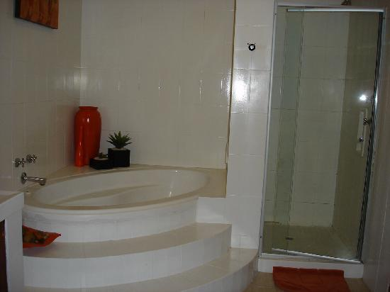 Outlook Lodge Lakefield: soaking tub and big shower