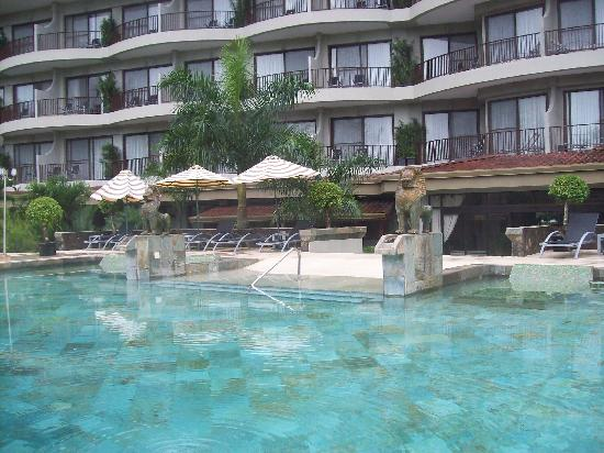 The Royal Corin Thermal Water Spa & Resort: From the pool toward the hotel. Master Suites are in the centre.