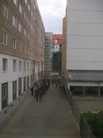 Dark Hostel: The view from our window of all the gothies lining up for a concert that night.
