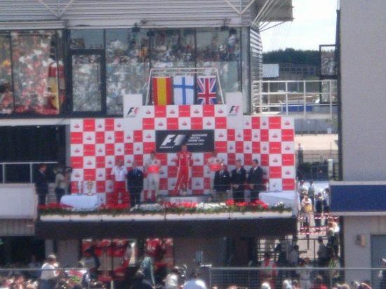 Silverstone, UK: The F1 podium, 1. Raikkonen 2. Alonso 3. Hamilton