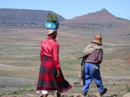 Mohales Hoek, Lesotho: Independence Day (Lesotho) tree planting.  Going over the edge.