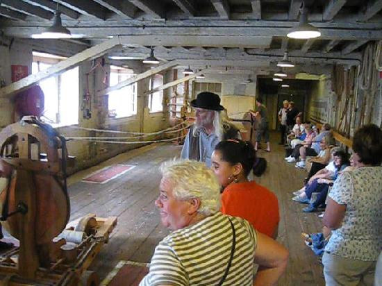 The Historic Dockyard Chatham: The ropery. The long-haired guide is a character.