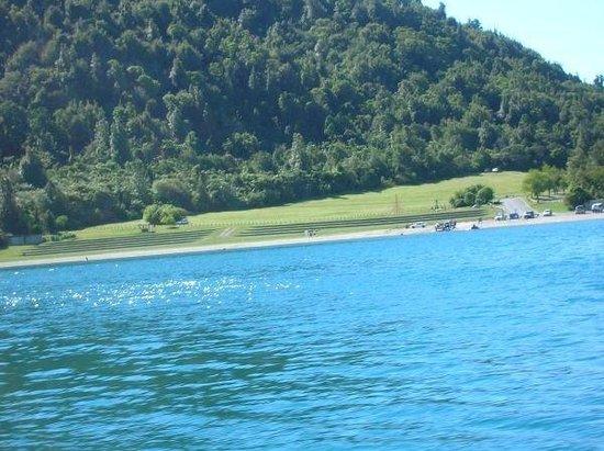Rotorua, New Zealand: Blue Lake where duck goes.