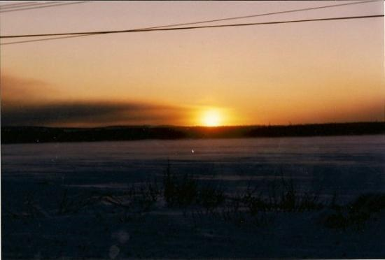 Labrador City, แคนาดา: The sun coming up over the lake from Tamarack Drive