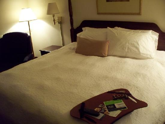 Bayside Hotel of Mackinaw : bed (note the useful tray table!)