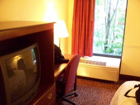 Bayside Hotel of Mackinaw: TV & desk (not much of a view outside; another hotel right next door)