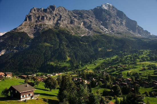 Hotel Cabana: The view of the Eiger from the balcony of our room
