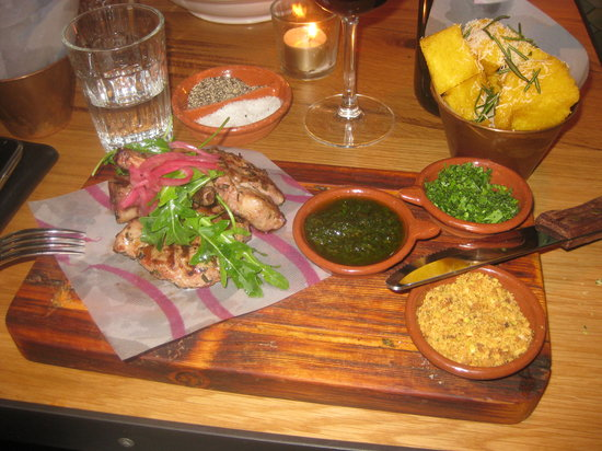 Jamie's Italian Canary Wharf: My Grilled Welsh lamb and Polenta Chips - niice!
