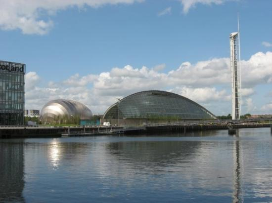 The Glasgow Science Centre, IMAX theater and tower on the River Clyde.