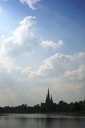 Lichfield Cathedral viewed from Stowe Pool
