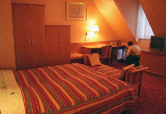 Hotel Domstern: very comfortable double bed and the frige