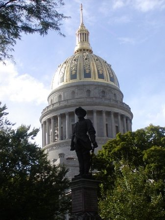 Charleston, WV: Statue of Stonewall Jackson in front of State Capitol.  Gen. Jackson was born in Clarksburg, whi