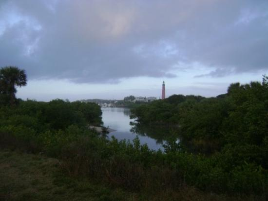 Ponce Inlet, Флорида: view of the Light House in the distance rainy morning