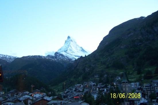 The World famous Matterhorn as seen from the village of Zermatt