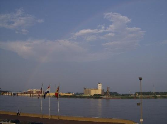 A rainbow, the end of which landed on the Casino Queen near Saint Louis, MO, United States
