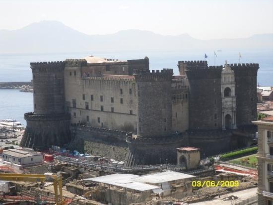 Gesu Nuovo Church: Naples: Castle Nuovo, view from hotel