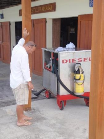 """Hermitage Bay: Silly thing to do - part 4...smoke in front of a """"DIESEL"""" tank...it should be stupid thing you d"""