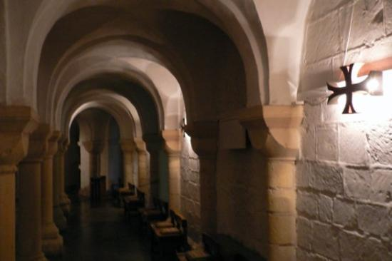 Worcester Cathedral: Below ground the ancient crypt chills the bones with cool darkness...