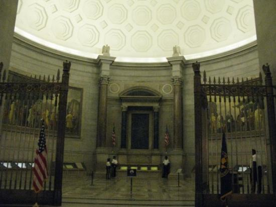 The National Archives Museum: National Archives main viewing room.  This is where the Constitution and Declaration of Independ